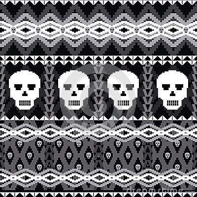 Skulls ornamental pattern