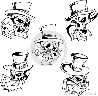 Skulls With Playing Cards Royalty Free Stock Photography