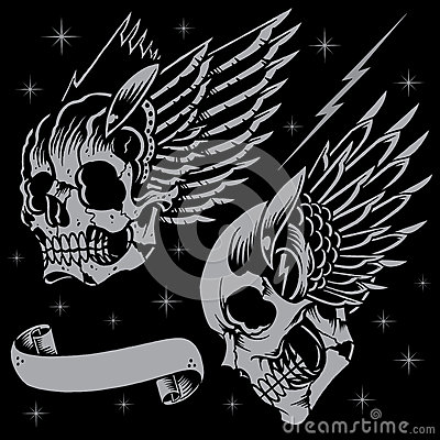 Skulls and wings in old school tattoo style. Line work with the ...