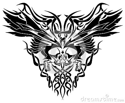 Skulls & Wings Tribal Illustration