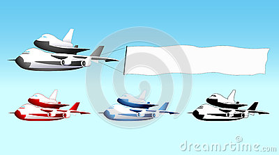 Sky advertising, shuttle carrier with blank banner
