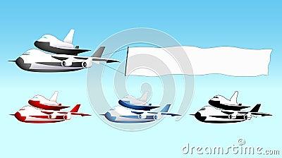 Sky advertising, shuttle carrier with blank banner