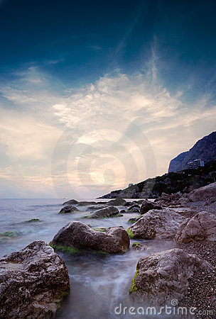 Free Sky After Sunset Over The Rocky Cape Ayia Royalty Free Stock Images - 15754939