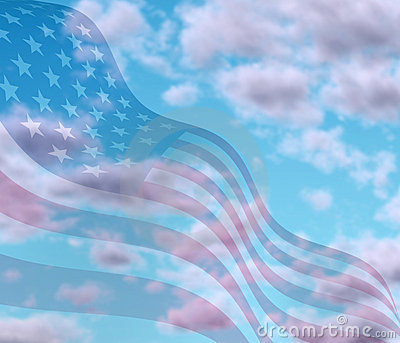 Sky with American flag texture
