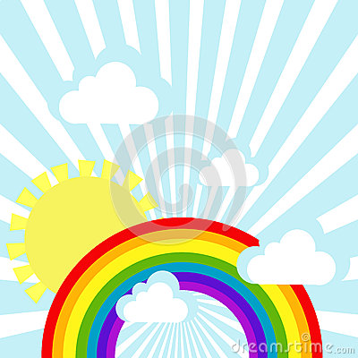 Sky background with clouds, sun and rainbow Vector Illustration
