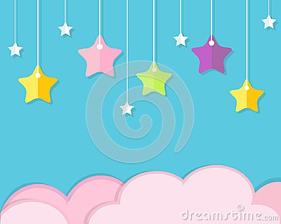 Sky background with pink clouds and colorful hanging stars. Background in paper cut, paper craft style. For baby, kids and nursery Vector Illustration
