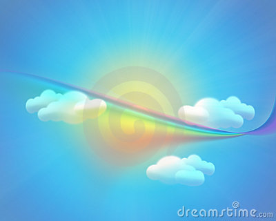 Sky background with sun clouds and rainbow Cartoon Illustration