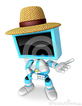Sky Blue TV farmer character are kindly guidance. Create 3D Tele