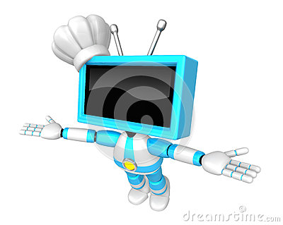 Sky Blue TV robot flying towards the sky. Create 3D Television R