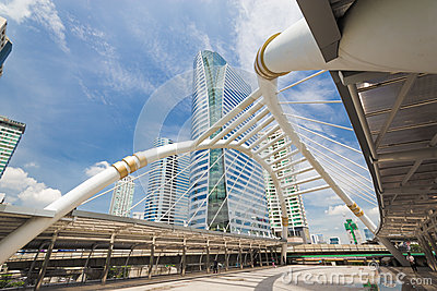 Sky bridge at Sathon junction, Bangkok,Thailand