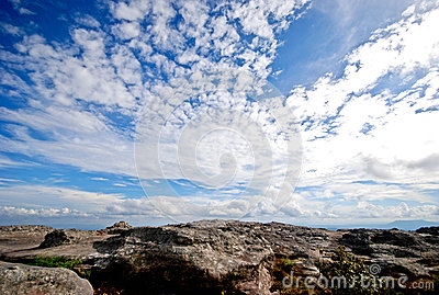 Sky with clouds and cliffs