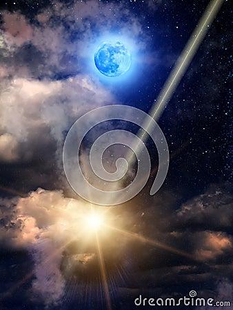 Sky  clouds   meteor  moon