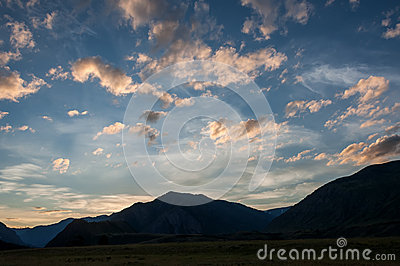 Sky clouds sunset mountains