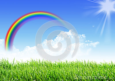Sky grass rainbow