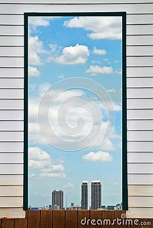 Sky i fönstret