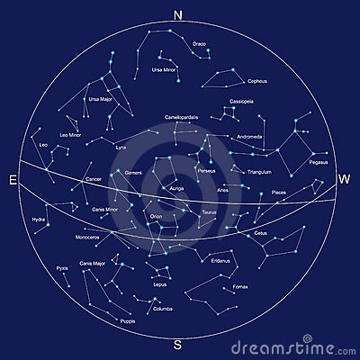 Sky Map And Constellations With Titles Royalty Free Stock Image ...