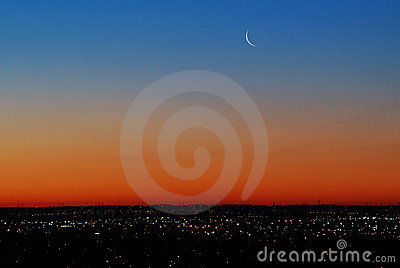 Sky with moon before sunrise