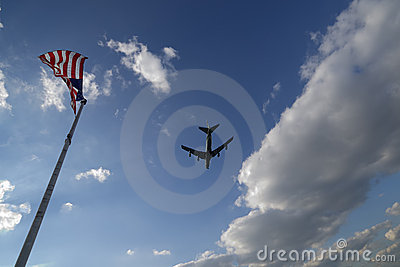 Sky with Plane and Flags