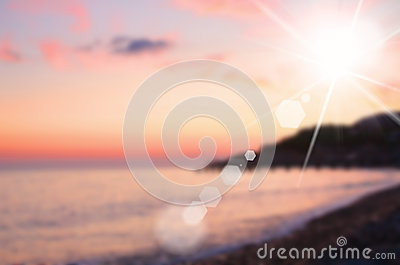 Sky and sea on sunset, blurred image