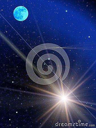 Sky  stars  comet moon
