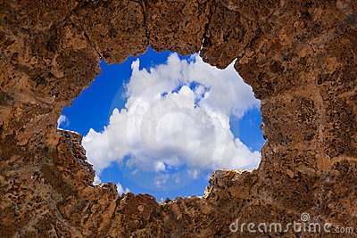 Sky in stone hole