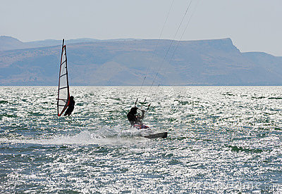 Sky-surfing and surfing on lake Kinneret
