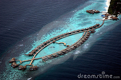 Sky view of water bungalows