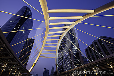 Sky walk with the Urban city