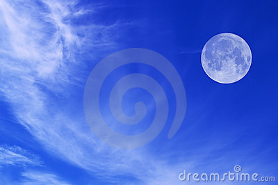 Sky with white clouds and moon
