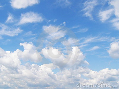 Sky and white different clouds