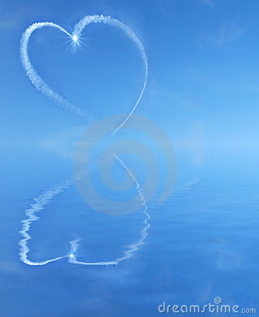 Sky writing heart over water