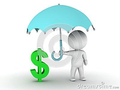 Skyddande dollarsymbol för man 3D med paraplyet - begrepp för finansiell säkerhet
