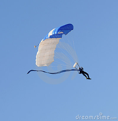 Skydiver descending
