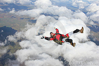 Skydiver flying on his back