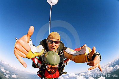 Skydiver giving the thumbs up