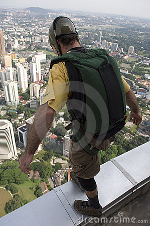 Free Skydiver Jumping From KL Tower Stock Photos - 9125493