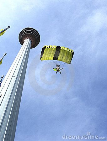 Free Skydiver Jumping From KL Tower Stock Photo - 9125730