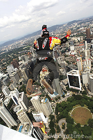 Skydiver jumping from KL tower Editorial Photo