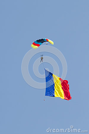 Skydiver with Romanian Flag Editorial Image