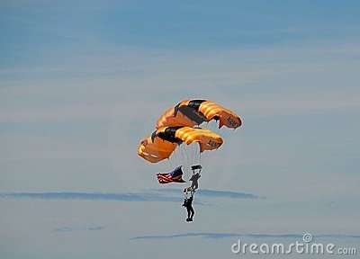 Skydivers with American flag