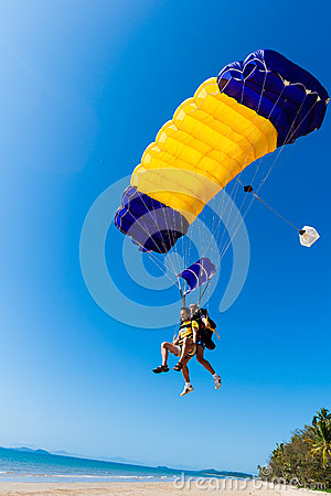 Skydiving Tandem Landing Beach  Editorial Stock Photo