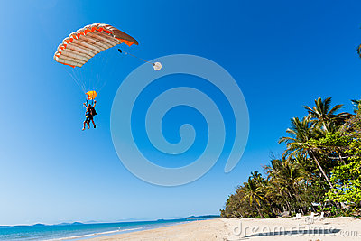 Skydiving Tandem Landing Beach  Editorial Photography