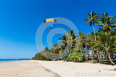 Skydiving Tandem Landing Tropical Editorial Photography
