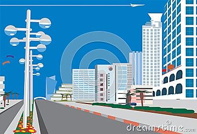 Skyline of    blue  city