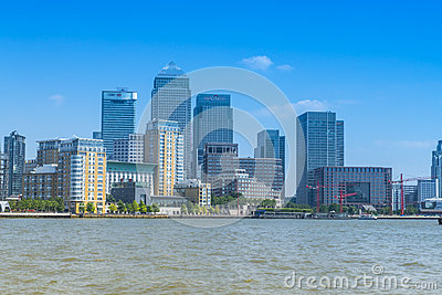 Skyline of Canary Wharf, London, UK Editorial Photography