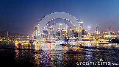 Skyline da cidade de Chongqing Lapso de tempo noite filme
