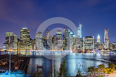 Skyline de Manhattan na noite