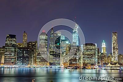 Skyline de Manhattan na noite