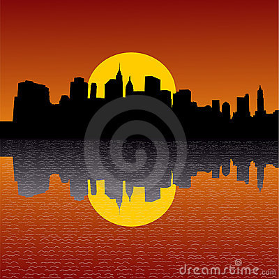 Skyline De Manhattan No Por Do Sol Imagem de Stock Royalty Free - Imagem: 4129666