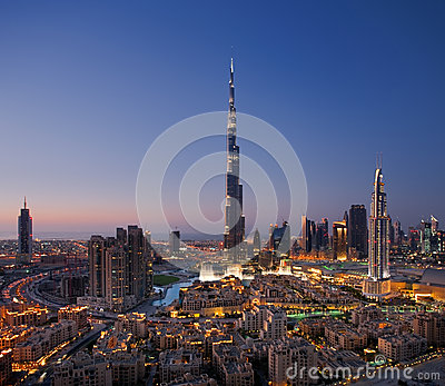 A skyline of Downtown Dubai with Burj Khalifa and